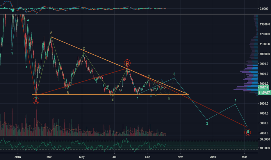 BTCUSD: Bitcoin at Wave 2 of 5, in C Wave of Bear Market Large ABC