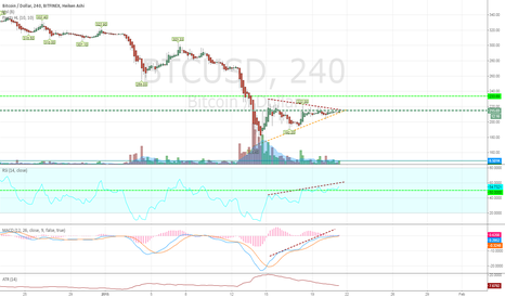 BTCUSD: Hidden Divergence and Symmetrical Triangle on the 240 Chart