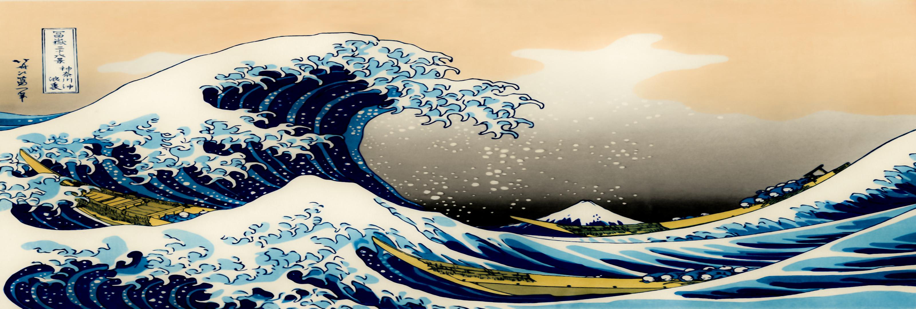 Открытки медвежатами, японские волны рисунок
