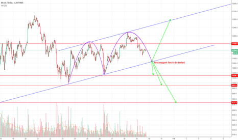 BTCUSD: BTC and testing support line again.