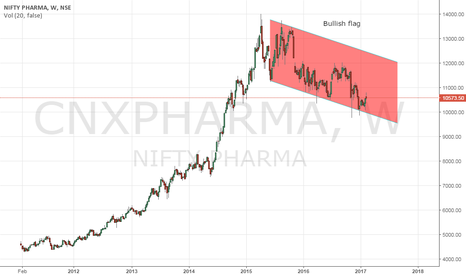 CNXPHARMA: Nifty Pharma - Bullish Flag on weekly charts.