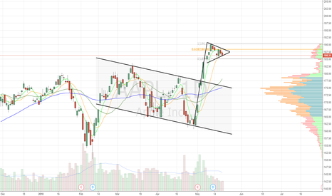 AAPL: Bull pennant at 9ema support. Inside week