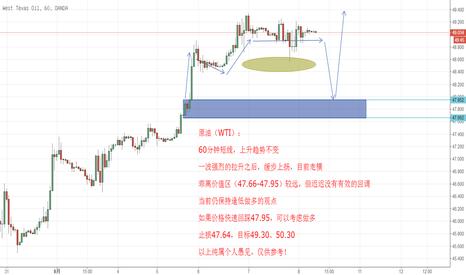 WTICOUSD: 原油(WTI),短线低多思路不变