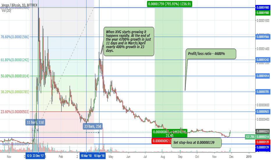 XVGBTC: XVG – Verge – 4600 % profit/loss ratio – another sell-off