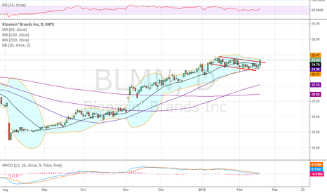 BLMN: Testing or breaking flag to the upside into earnings