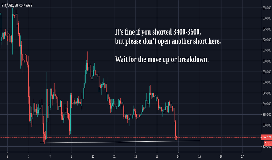 BTCUSD: Bitcoin (BTC) Near lows again. Hold shorts but do not add.