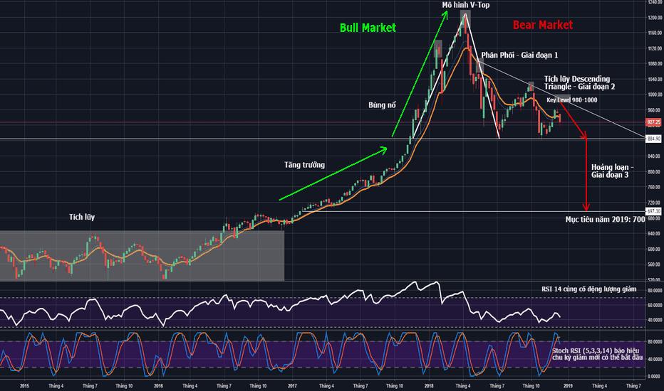 VNINDEX: VNIndex - Weekly Chart - Thị trường giá xuống đã bắt đầu