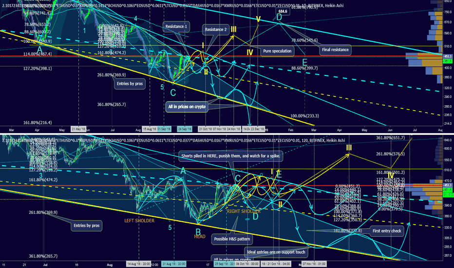 2.10172341319882*BTCUSD^0.3*ETHUSD^0.3*XRPUSD^0.1413*BCHUSD^0.1063*EOSUSD^0.0611*LTCUSD^0.0377*DASHUSD^0.0167*XMRUSD^0.0166*ETCUSD^0.01*ZECUSD^0.01: October Report: Wave 5 ending in H&S or a Descending Triangle?