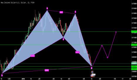 NZDUSD: 纽元/美元,日线图上涨蝙蝠模式