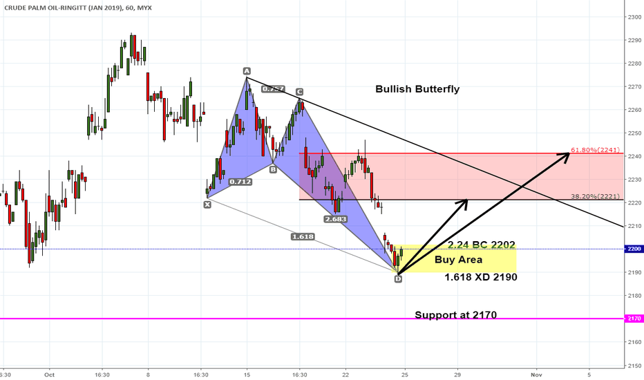 FCPOF2019: Bullish Butterfly On FCPO Hourly Active Month