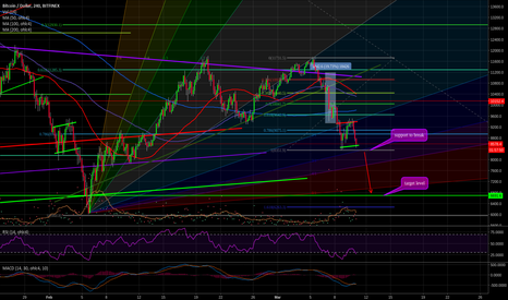 BTCUSD: Bitcoin bearish flag - target level ~$6692