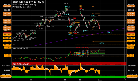 SPY: Update SPY 10 min chart with EW, Woodie Pivots, Fibonacci