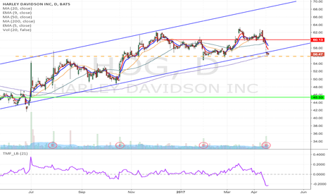 HOG: HOG- Upward channel breakdown short from $55 to $45, 55 Aug put