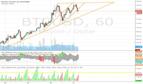 BTCUSD: BTCUSD: Double Top with Triangle Pattern
