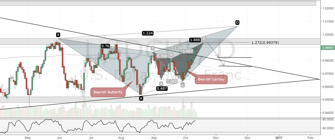 USDCHF Daily Chart.Bearish Butterfly , Bearish Gartley Patterns