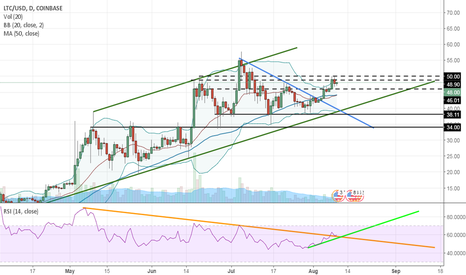 LTCUSD: Litecoin move up happened. $57 target. But when?
