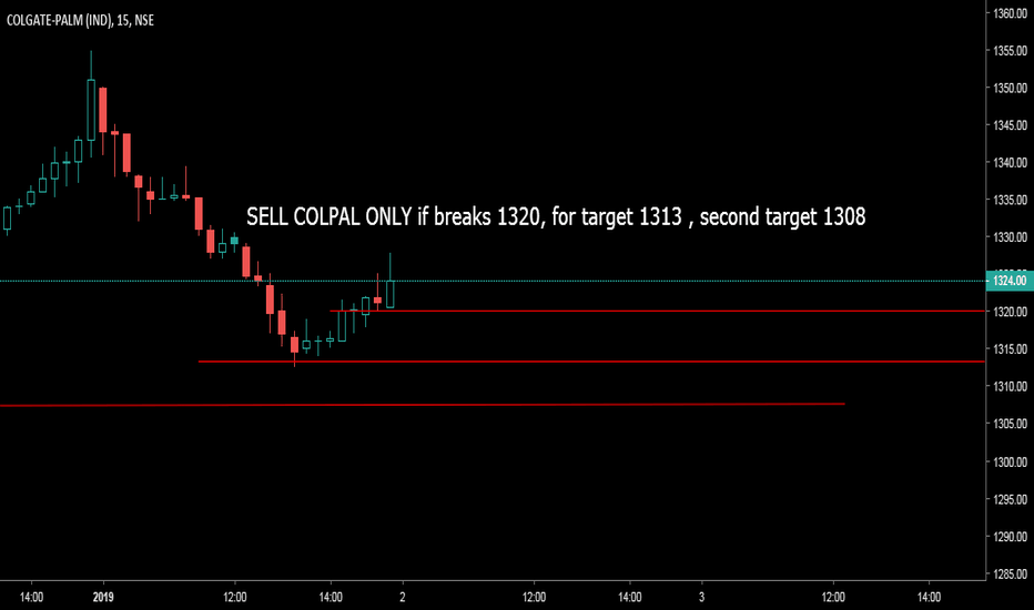 COLPAL: SELL COLPAL ONLY if breaks 1320, for target 1313 , second target