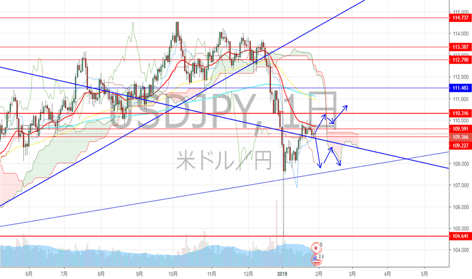 USDJPY: ドル円 長期TL付近