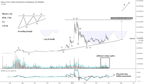 BNBUSD: Binance coin should see some more waves up.